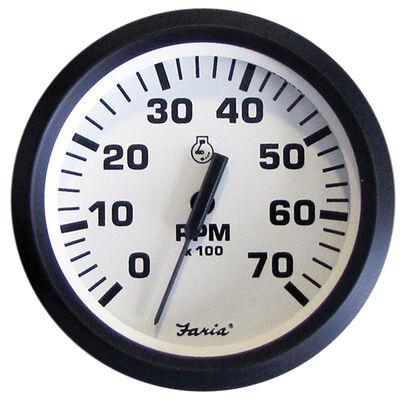"""Faria 4"""" Euro White Series Tachometer, 7000 RPM"""