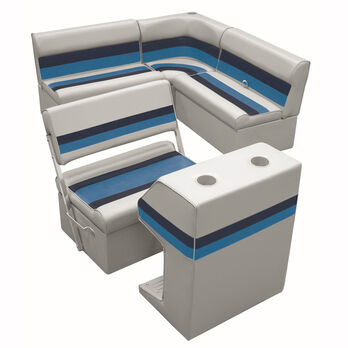 Deluxe Pontoon Furniture w/Classic Base - Rear Group Package E, Gray/Navy/Blue