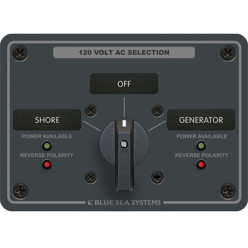 Blue Sea AC Rotary Switch Panel: 120V, 30A, 2 Sources, 2 Poles, 2 Positions+OFF image number 1