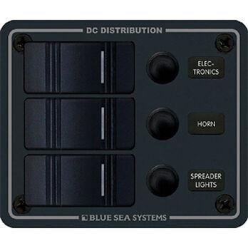 Blue Sea Water-Resistant Contura Circuit Breaker Panel - 3-Position Vertical