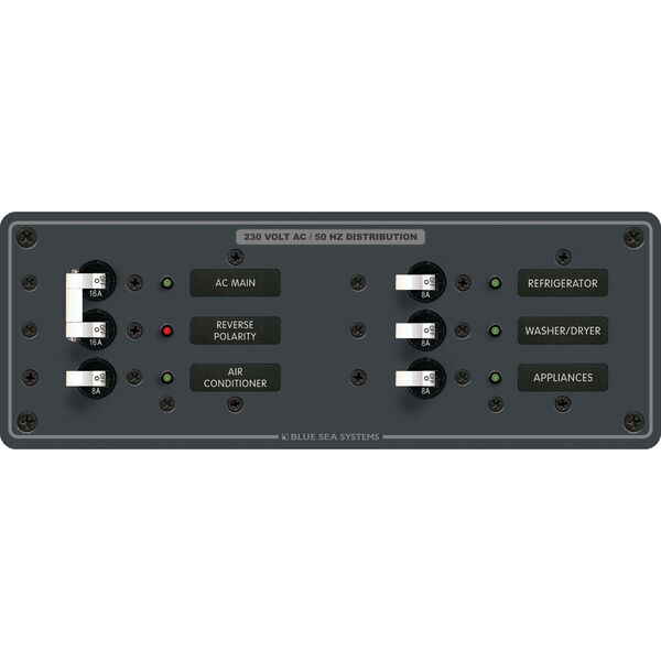 Blue Sea Systems Panel, 230V AC (European), AC Main + 4 Positions