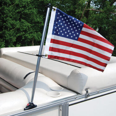Pontoon Flag Pole Socket with 24'' Pole and U.S. Flag