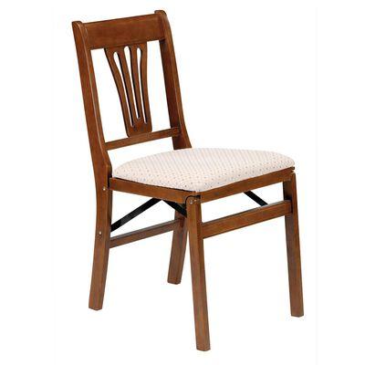 Urn Back Folding Chair, Fruitwood