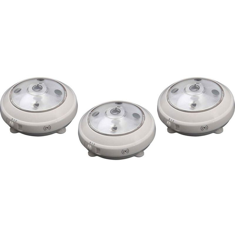 Wireless LED Puck Light with Auto On/Off Sensor, 3pk - White image number 1