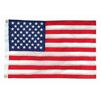 "Deluxe Sewn Nylon American 50-Star Flag, 12"" x 18"""