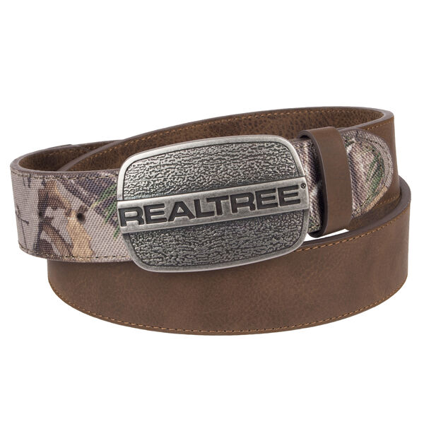 """Realtree Men's 1.5"""" Leather Belt with Logo Buckle"""
