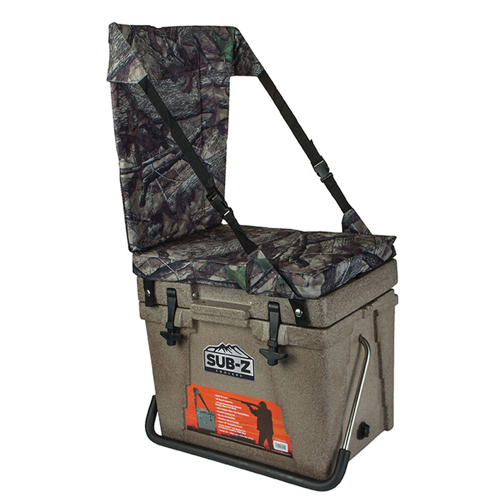 Nash Sub Z 23 Quart Heavy Duty Outdoor Portable Camping Sports Cooler Camo Seat