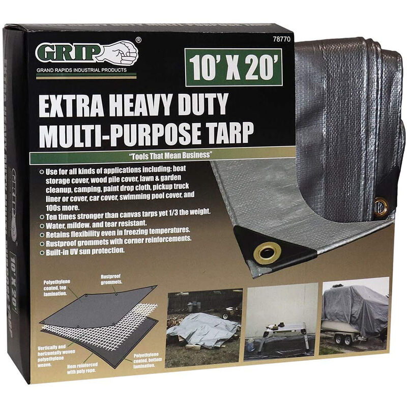 Grip On Tools Heavy Duty Multi-Purpose Tarp, 10' x 20' image number 1