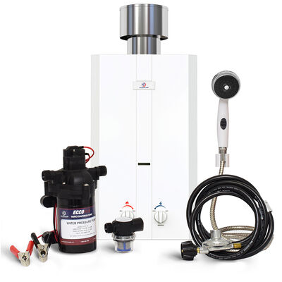 Eccotemp L10 Portable Outdoor Tankless Water Heater w/ EccoFlo Diaphragm 12V Pump, Strainer & Shower Set