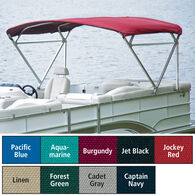 "Traditional Pontoon Bimini Top Sunbrella Acrylic, 1-1/4"" Free Standing 96""-102""W"