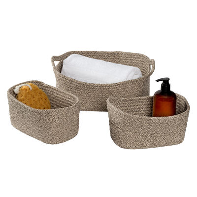 Honey Can Do Nested Cotton Baskets with Handles – Champagne, Set of 3