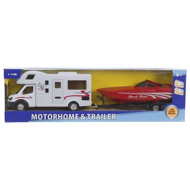 Class C Motorhome and Boat Trailer
