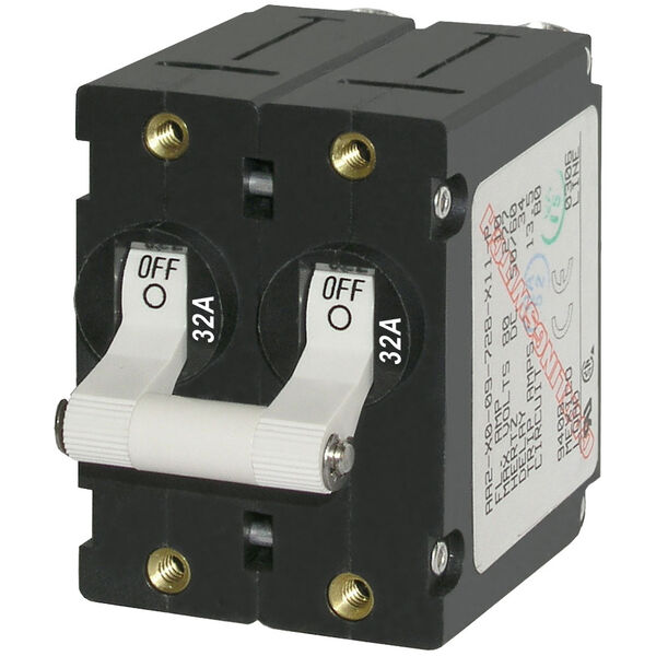 Blue Sea Systems A-Series Toggle Switch AC Circuit Breaker, Double Pole 32 Amp