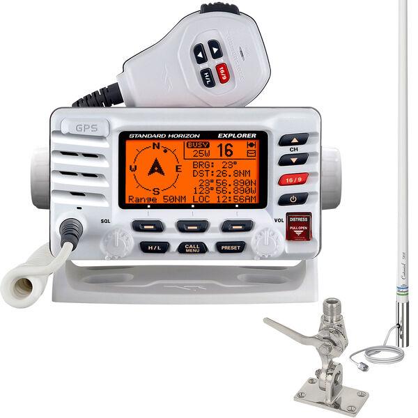 Standard Horizon Explorer GPS GX1700 VHF Radio Package White w/Antenna, SS Mount