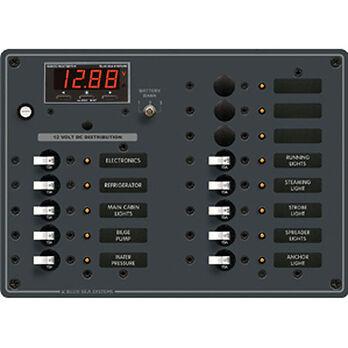 Blue Sea 12/24V DC Branch Circuit Breaker Panel: 13 Position, Digital Multimeter