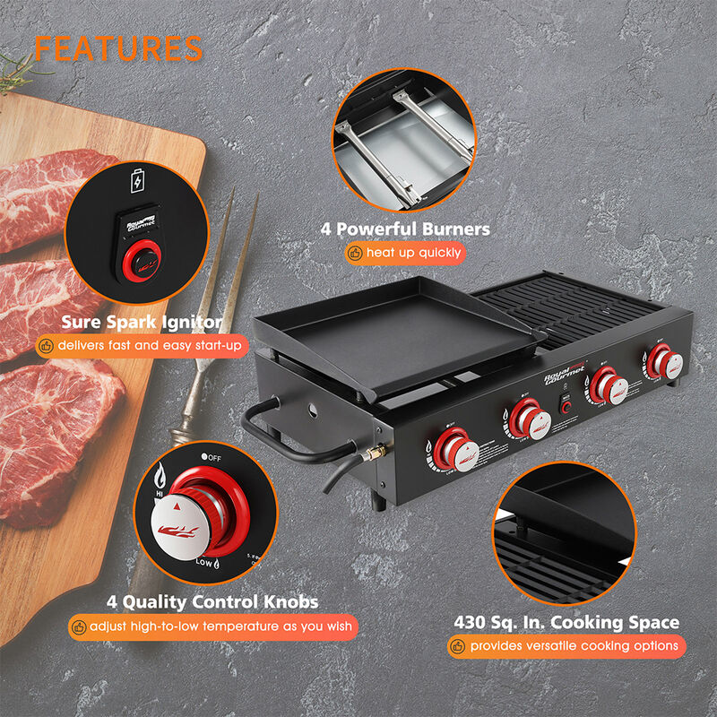 Royal Gourmet Portable 4-Burner Gas Griddle and Grill Combo image number 5