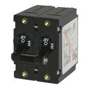 Blue Sea AC Circuit Breaker A-Series Toggle Switch, Double Pole, 30A, Black