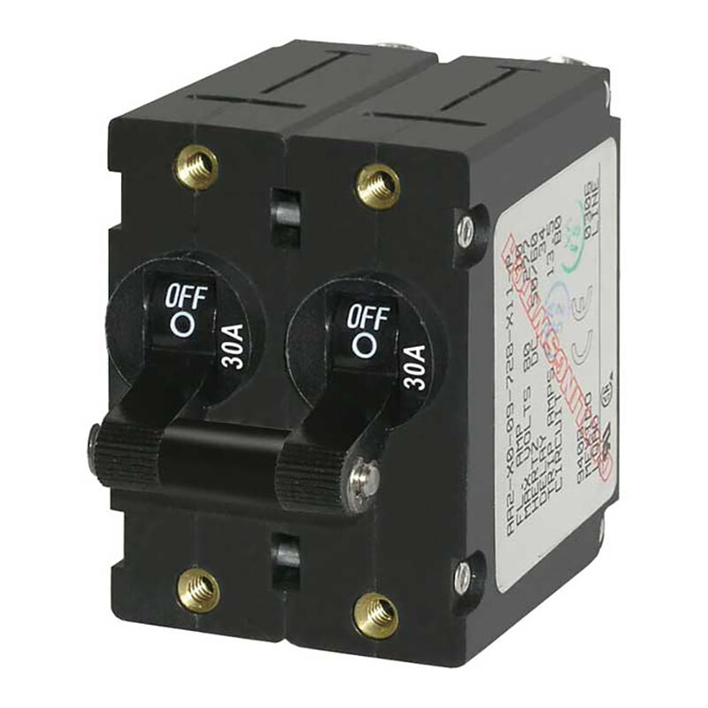 Blue Sea AC Circuit Breaker A-Series Toggle Switch, Double Pole, 30A, Black image number 1