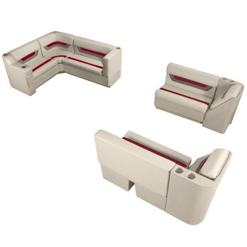 Designer Pontoon Furniture - Complete Boat Package, Platinum/Dark Red/Mocha