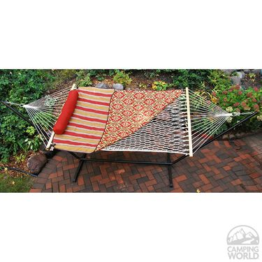 Cotton Rope Hammock, Stand, Pad, and Pillow Combination