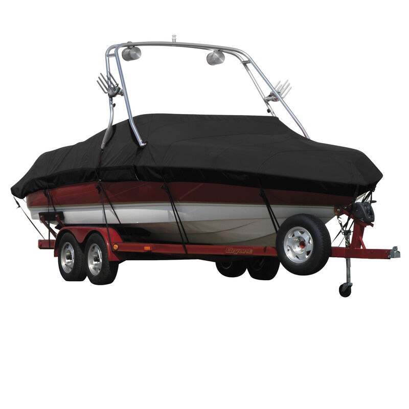Exact Fit Covermate Sharkskin Boat Cover For MALIBU SUNSETTER 23 XTI w/TITAN TOWER CUTOUTS COVERS SWIM PLATFORM image number 1