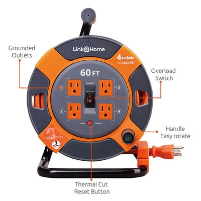 Link2Home Power Reel 60' Extension Cord with 4 Power Outlets