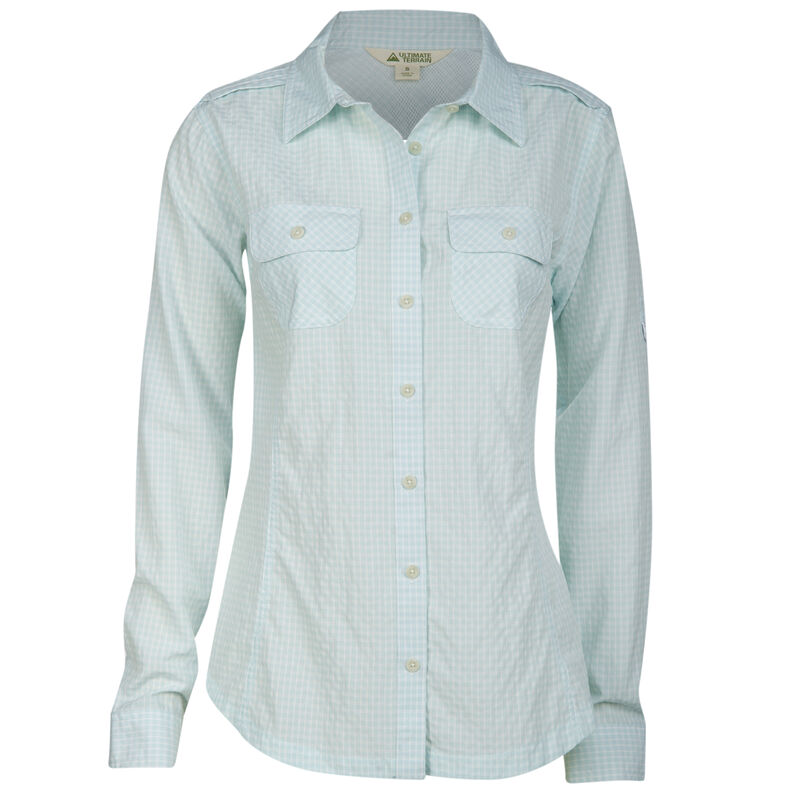 Ultimate Terrain Women's Trailhead Bug Repel Long-Sleeve Plaid Shirt image number 13