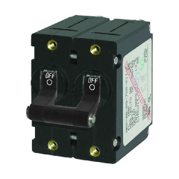 Blue Sea AC Circuit Breaker A-Series Toggle Switch, Double Pole, 20A, Black