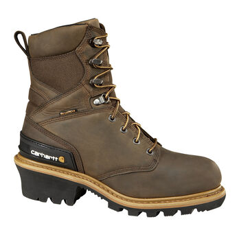 Carhartt Men's Crazy Horse Brown Waterproof Insulated Composite Toe Logger Boot