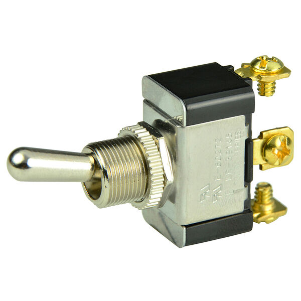 BEP SPDT Chrome Plated Toggle Switch, On/Off/(On)
