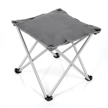 Padded Folding Outdoor Ottoman, Charcoal Gray