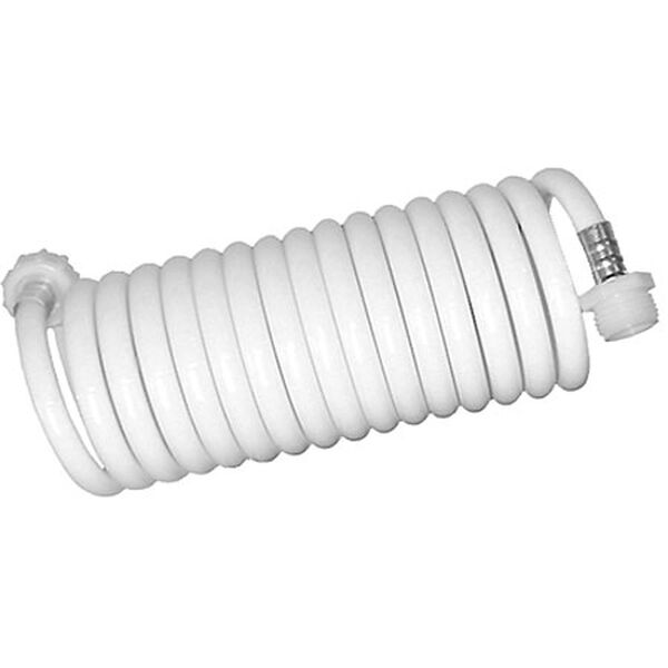 White Coiled Wash Down Hose, 25'
