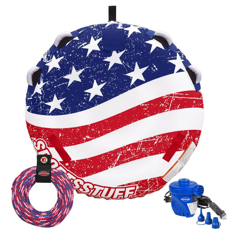 Sportsstuff Stars And Stripes 1-2-Person Tube with Tow Rope & Pump image number 1
