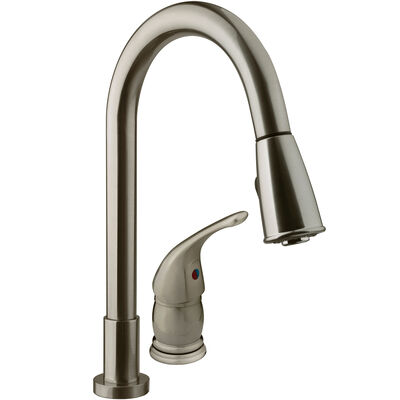 Dura Faucet Pull-Down RV Kitchen Faucet, Brushed Satin Nickel