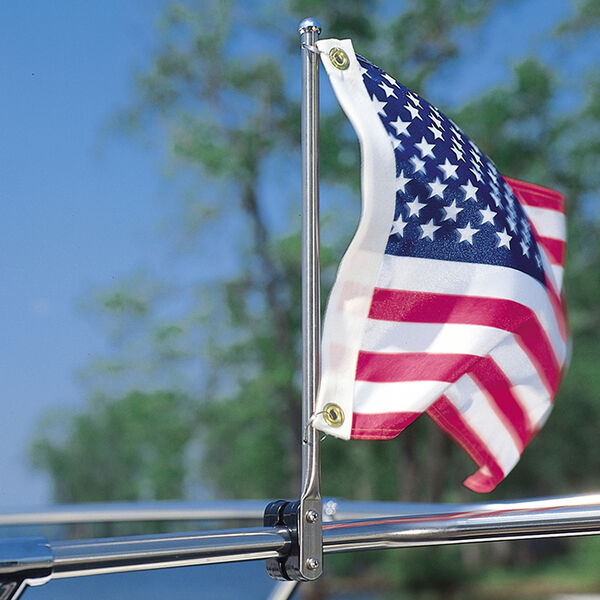 """15"""" Stainless Steel Flag Pole with Rail Mount"""