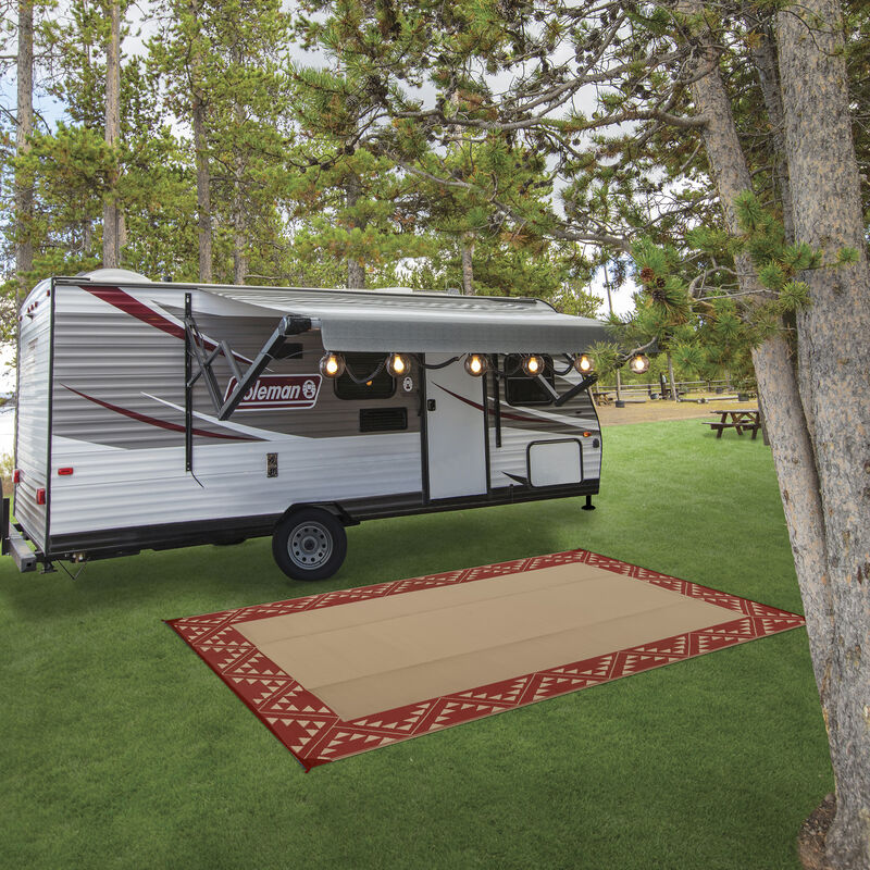 Reversible RV Patio Mat with Aztec Border Design image number 10