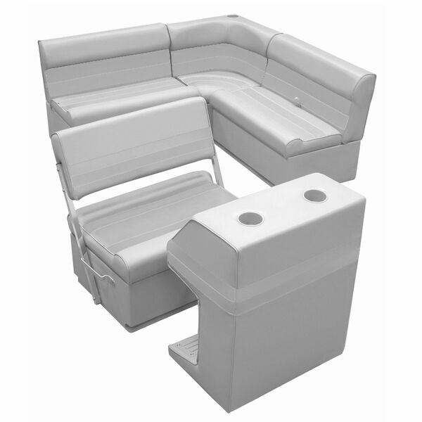 Deluxe Pontoon Furniture w/Toe Kick Base - Rear Group 3 Package, Gray