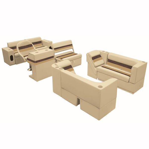 Deluxe Pontoon Furniture w/Toe Kick Base, Complete Package E, Sand/Chestnut/Gold