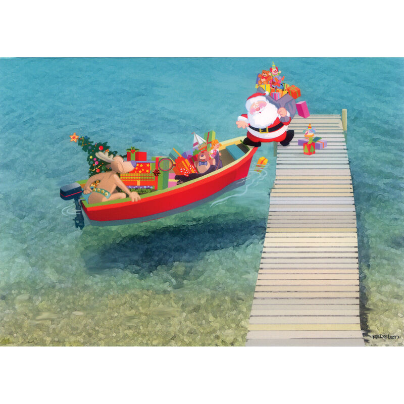 Kersten Brothers Personalized Santa Boarding Small Craft Card image number 1