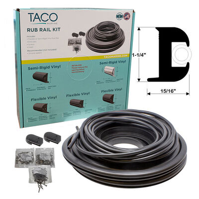 "TACO Marine Flexible Rub Rail Kit, 1-1/4"" X 15/16"", Black with Black Insert, 50 Feet"