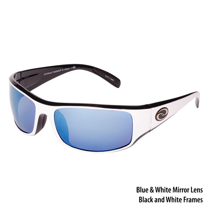 Strike King S11 Gulf Sunglasses, Shiny White-Black Frame/White-Blue Mirror Lens image number 1