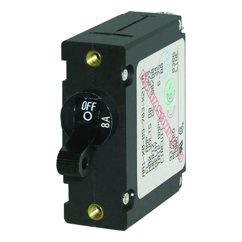 Blue Sea Circuit Breaker A-Series Toggle Switch, Single Pole, 8A, Black image number 1