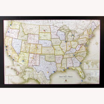 Magnetic Travel Map USA, Classic Tan, 36x24