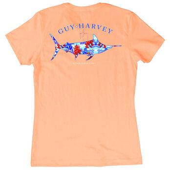 Guy Harvey Women's Fresh Floral Short-Sleeve Tee