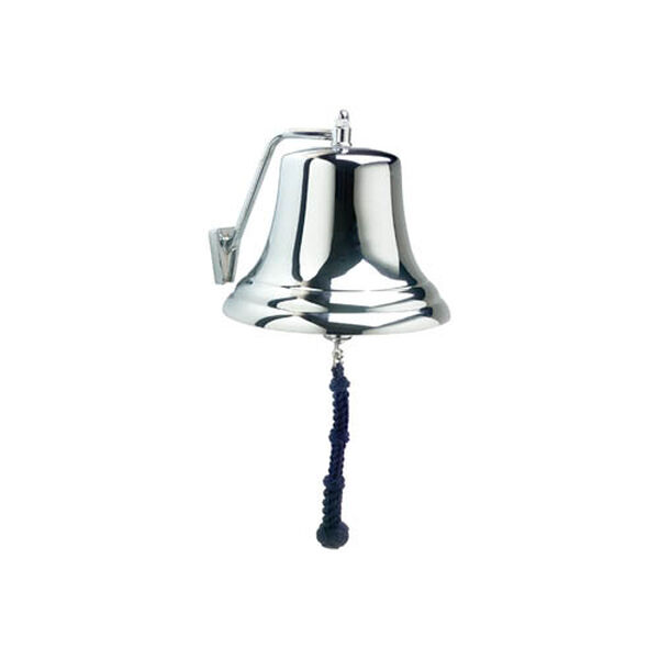 """Weems & Plath 12"""" Chrome Bell with Navy Monkey's Fist Lanyard"""
