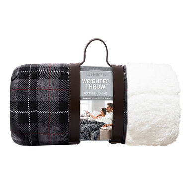 """Lazy Mondays Reversible Sherpa 10-lb. Weighted Blanket, 50"""" x 60"""", Gray Plaid"""