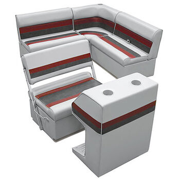 Deluxe Pontoon Furniture w/Toe Kick Base - Rear Group 3 Package, Gray/Red/Charco