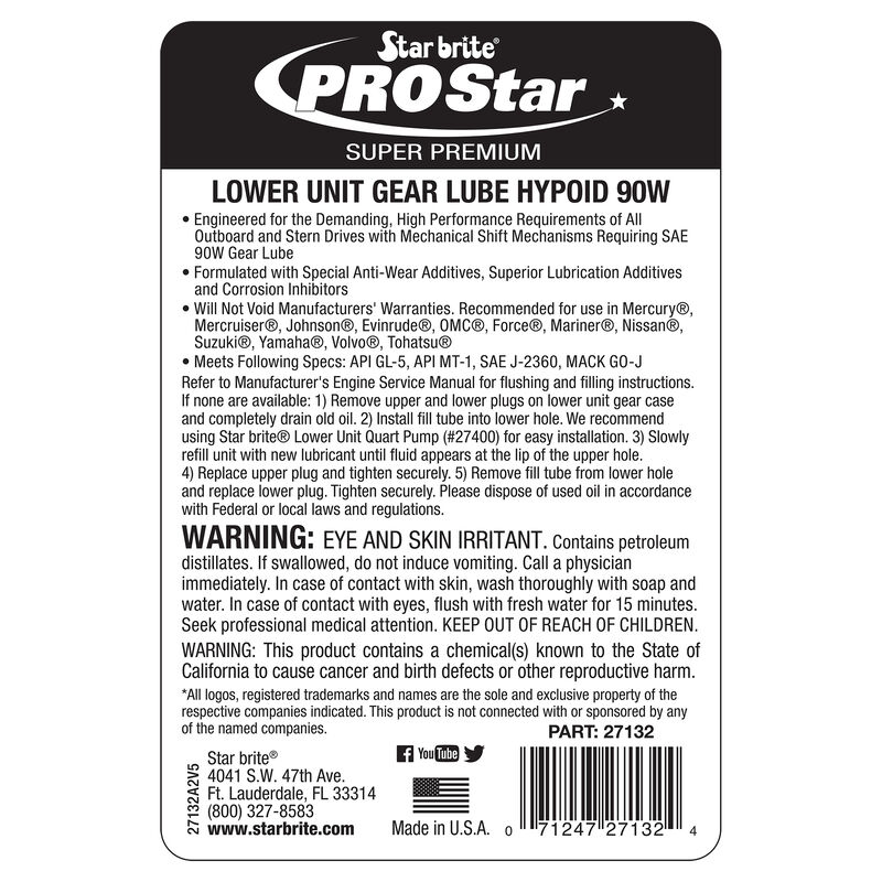 Star Brite Hypoid 90W Lower Unit Gear Lube, 32 oz. image number 3