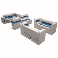 Deluxe Pontoon Seats w/Toe Kick Base, Complete Package E Plus Stand, Gray/Navy/B