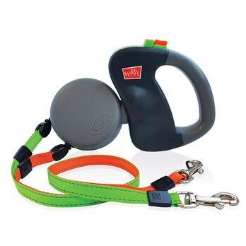 Wigzi Dual Retractable Leash Gray with Orange/Green Leads, Small